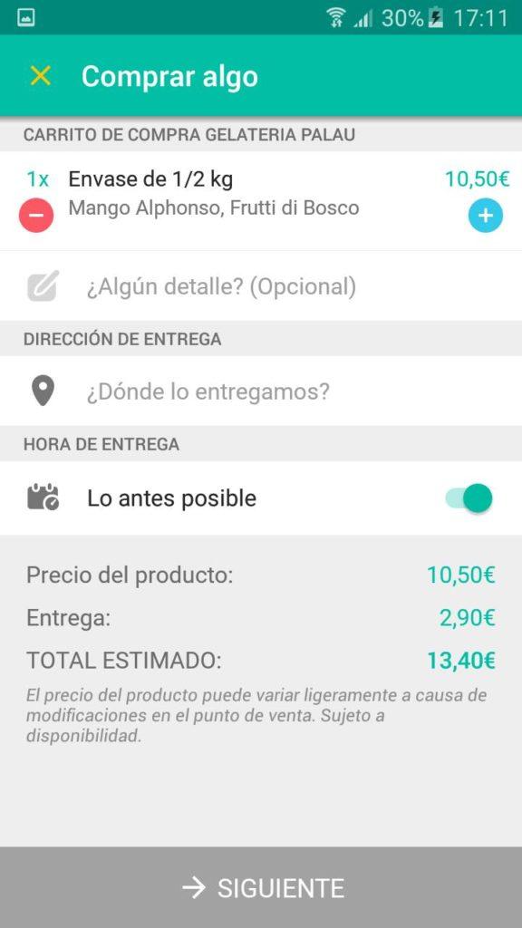 pagar el helado a traves de la app